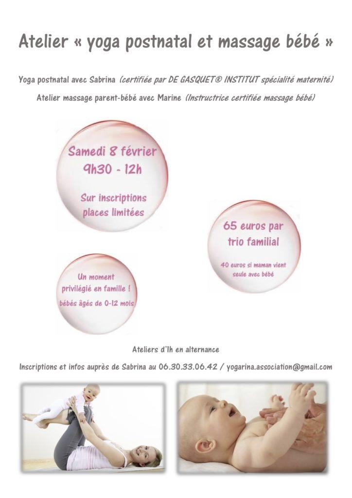 Affiche pour l'Atelier yoga postnatal et massage bébé